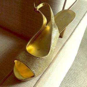 "3"" gold slingback heels"